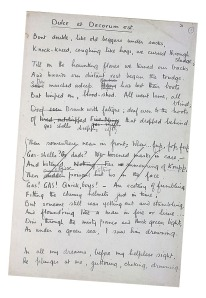 hand-written draft of Wilfred Owen's poetry