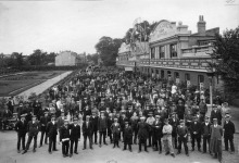 Workers outside the Pelabon Factory in Twickenham