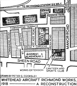streetplan drawing showing the Whitehead works
