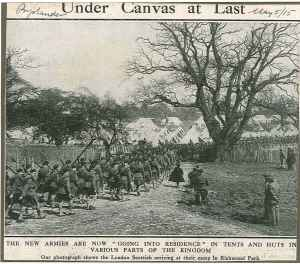 Soldiers in kilts marching towards tents in the park