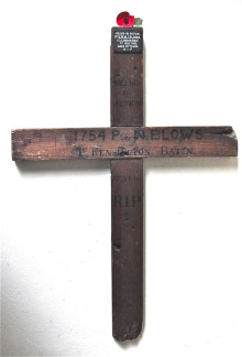 Simple wooden cross grave marker from First World War
