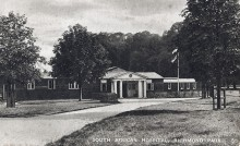 Black & White postcard showing the entrance building to the South African Hospital
