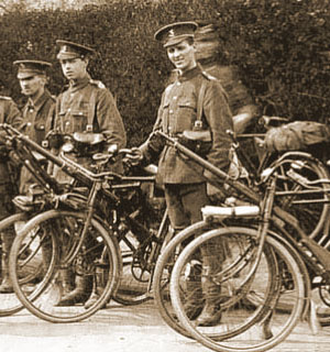 Young British Tommies from the Cycle Corps posing with their bikes