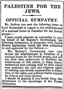Un-illustrated newspaper column titled 'Palestine for the Jews'